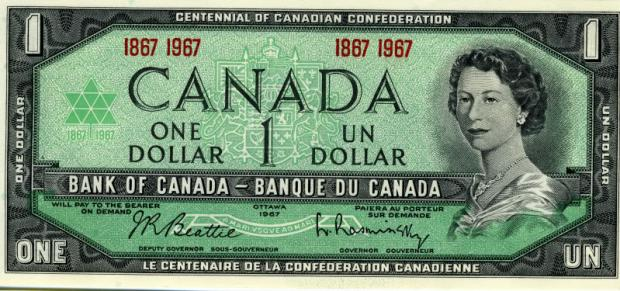 1 dolar kanadyjski. Wiek: 25 lat