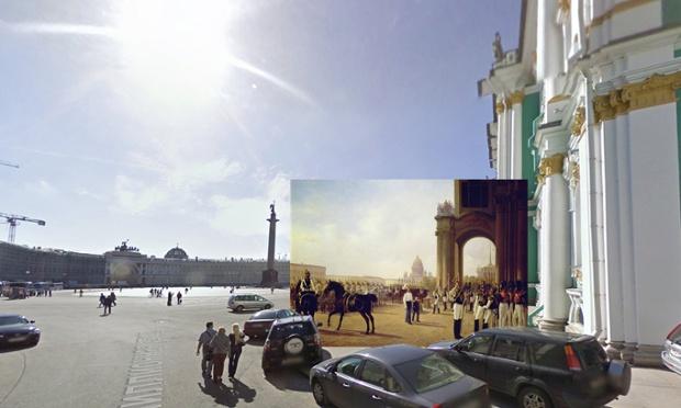 Parada na Placu Pałacowym w Sankt Petersburgu, 1800,  Adolphe Ladurner