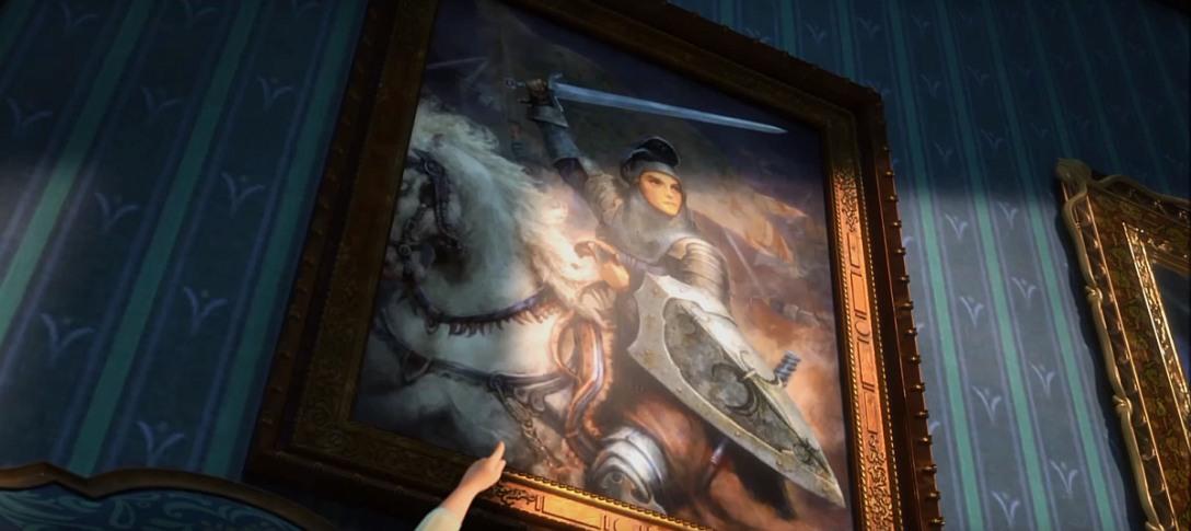 """Tu dają jako bonus - obraz w wersji Cory'ego Loftisa z innej sceny (piosenka """"Do You Want to Build a Snowman""""), przedstawiający Joannę d'Arc"""