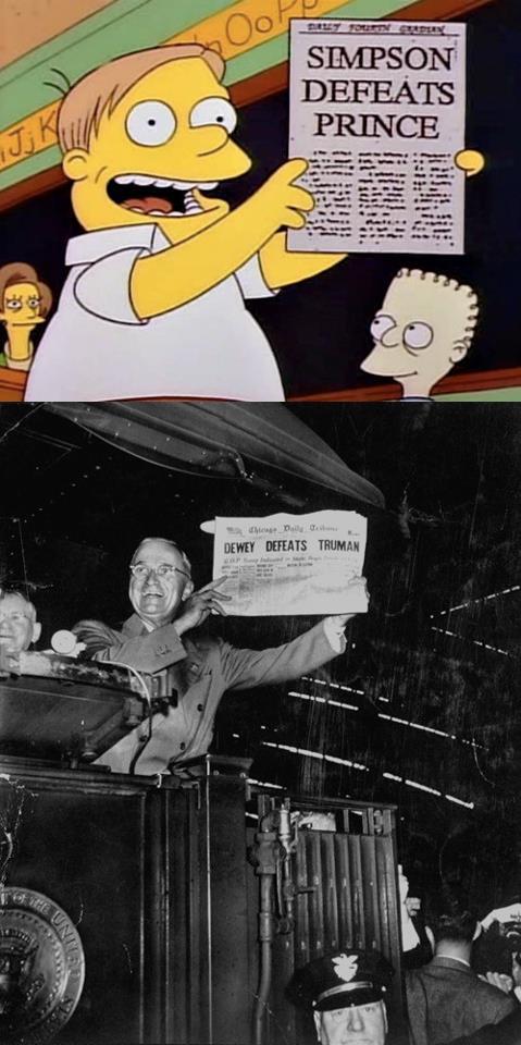 Nagłówek gazety głosi porażkę Harry'ego Trumana w wyborach prezydenckich. Okazało się, że faktycznie wygrał Truman właśnie.