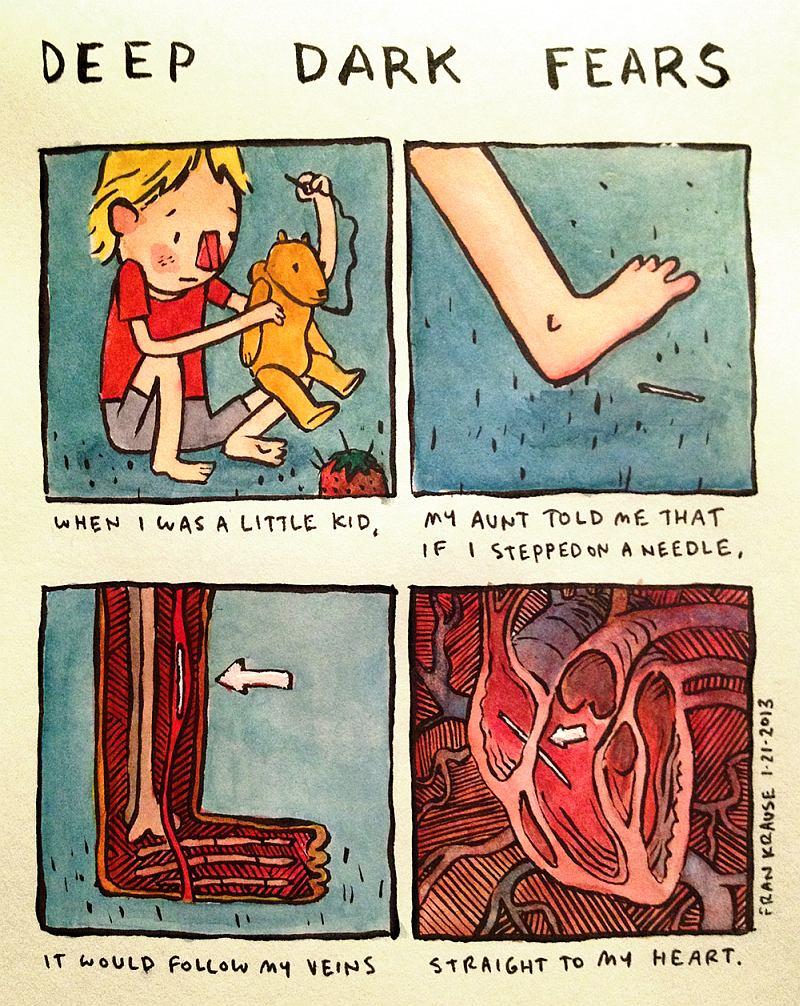 Kiedy byłam jeszcze mała, ciocia powiedziała mi, że jeśli nadepnę na igłę, ta zacznie płynąć moimi żyłami prosto do mojego serca.