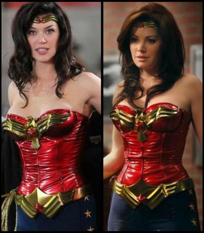 """W 2011 roku miał powstać serial opowiadający o Wonder Woman, jednak nakręcono jedynie jego pilot. Kostium superbohaterki na krótko założyła Adrianne Palicki (z lewej), jednak to nie koniec jego historii. Rok później przydał się jednak w jednym z odcinków serialu """"Harry's Law"""", gdzie przywdziała go Erica Durance."""