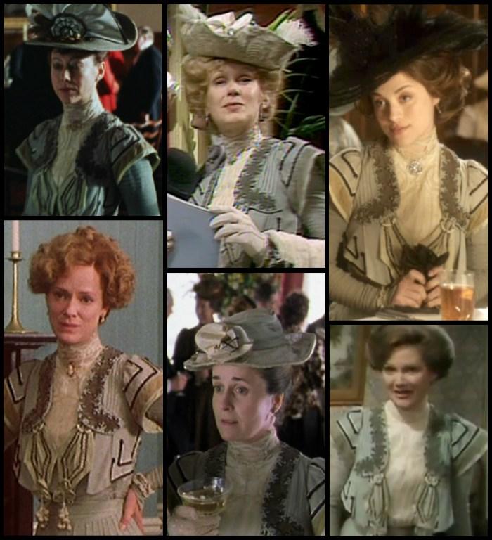 Pierwsze użycie tego stroju przypada na rok 1974 (prawy-dolny róg), natomiast jak dotąd ostatnie miało miejsce w 2013 (prawy-górny róg), w jednym z brytyjskich seriali... kostiumowych oczywiście.
