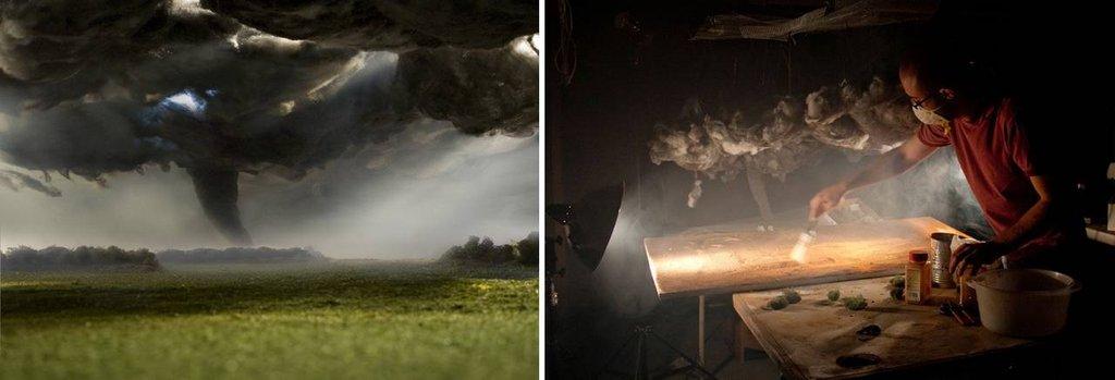 Diorama ze stali, wełny, bawełny, pietruszki i mchu.