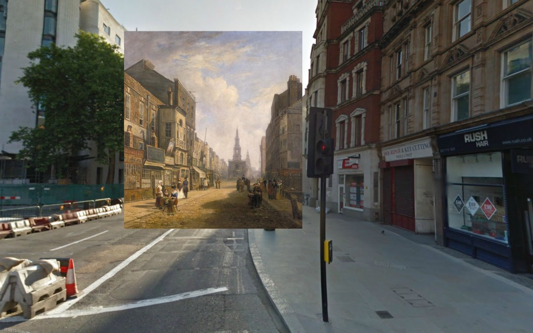 Widok na Strand patrząc na wschód z Exeter Exchange, 1822, Caleb Robert Stanley