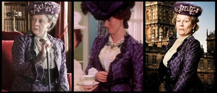 """A jeśli już przy serialach kostiumowych jesteśmy, to w zestawieniu nie mogło oczywiście zabraknąć """"Downton Abbey"""", które wręcz słynie z pożyczania kreacji z innych produkcji.  Po lewej kadr z najbardziej ulubioną postacią, po prawej kadr z jego parodii, a w środku jego pierwsze użycie - rok 1998 i serial """"Berkeley Square""""."""