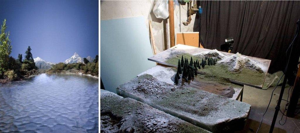 Całość składa się z zaprawy murarskiej, mchu, szczotek do butelek (sosny). Całość zbudowana na bazie stołu ogrodowego.