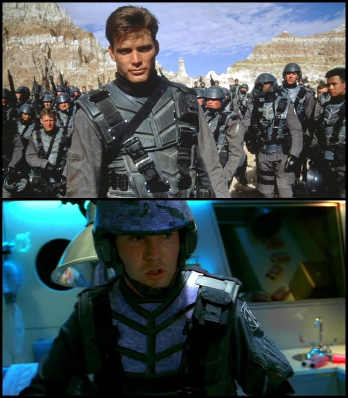 """Na pozór wyglądające jak kadry z jednego filmu, tak naprawdę pochodzą z jednego z najlepszych filmowych sci-fi w historii (""""Starship Troopers"""" - góra) i najlepszego serialu sci-fi w historii (""""Firefly"""" - dół). Używane przez serialowych żołdaków Alliance kombinezony, to po prostu przemalowane na lekki fiolet mundury """"Żołnierzy kosmosu""""."""