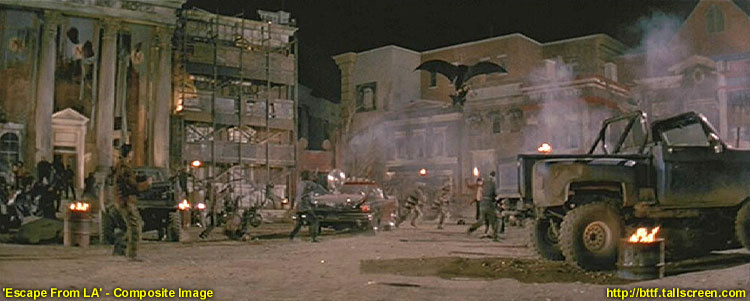 """""""Ucieczka z Los Angeles"""" (1996) - zbliżenie na gmach, z nadlatującym na lotni Snake'em Plisskenem"""