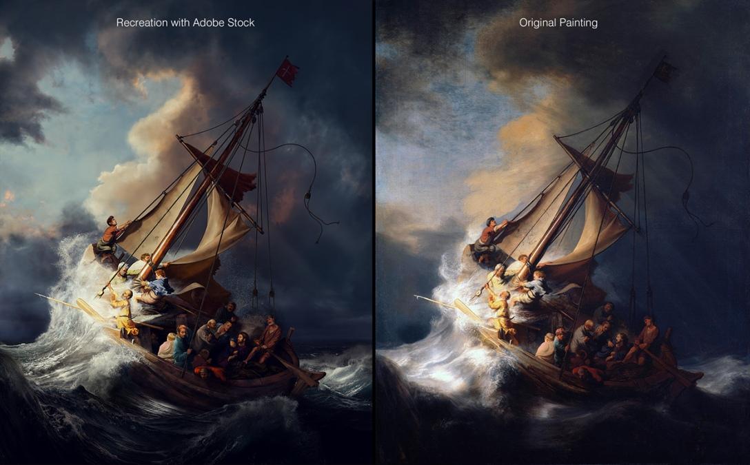 Po lewej rekonstrukcja autorstwa Ankura Patara, po prawej oryginał