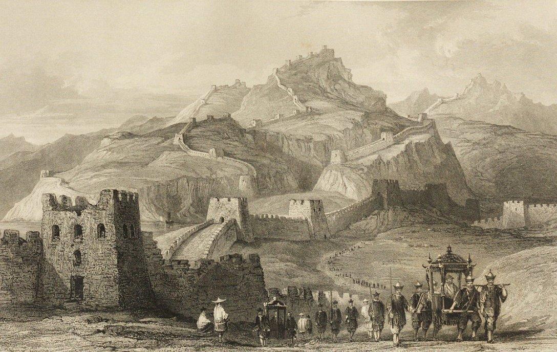 Bo po murze dojść z jednego do drugiego nie sposób. (źródło: Thomas Allom, China, in a series of views, 1845 rok)