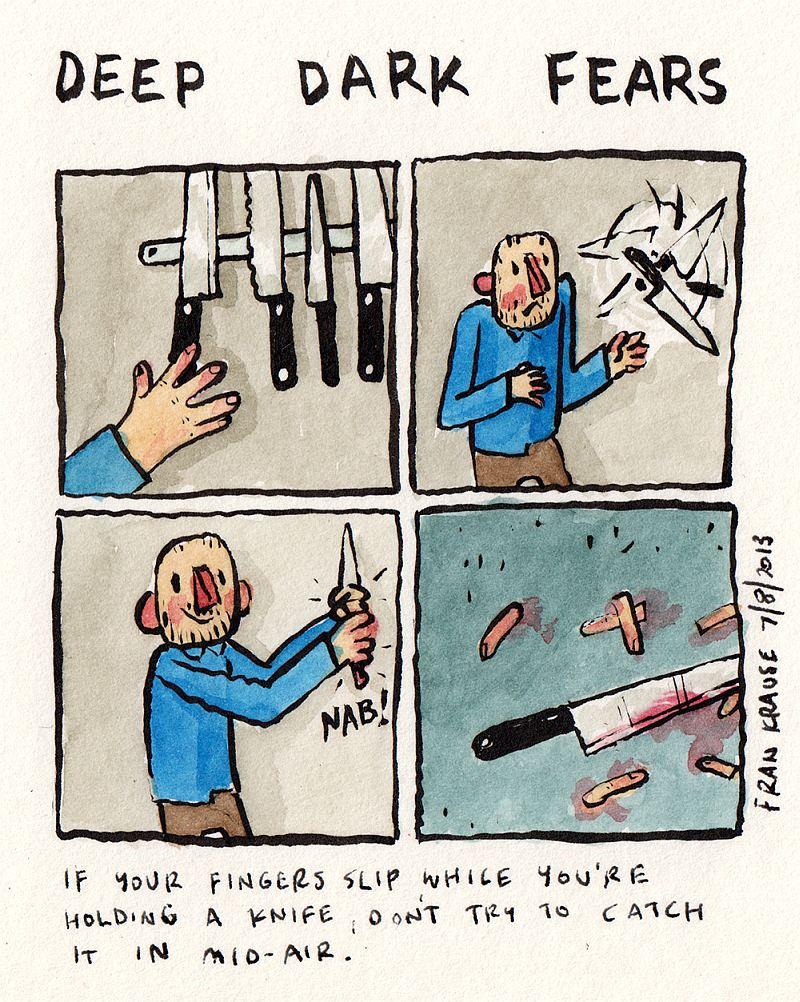 Nawet nie próbuj łapać noża, który przypadkiem wyślizgnie Ci się z rąk.