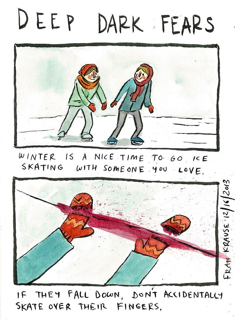 Zima to najwspanialsza pora, by wybrać się na łyżwy z kimś, kogo kochamy. Ale jeśli upadną, uważaj żeby nie przejechać im po palcach.