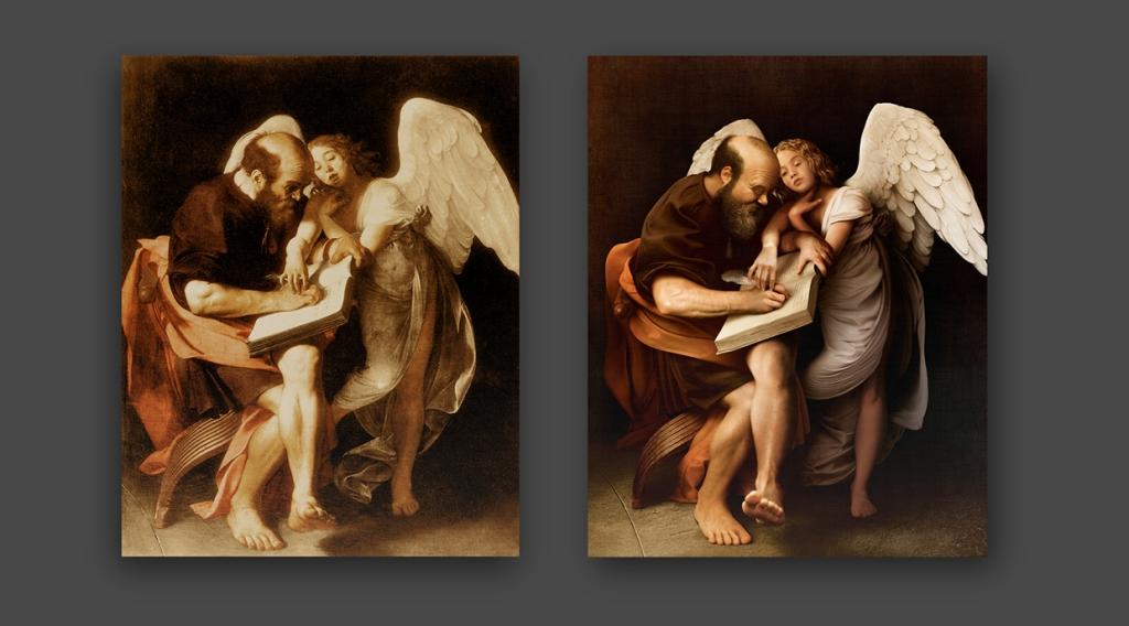 Po lewej, dla odmiany, oryginał, po prawej zaś rekonstrukcja autorstwa Jean-Charlesa Debroize'a