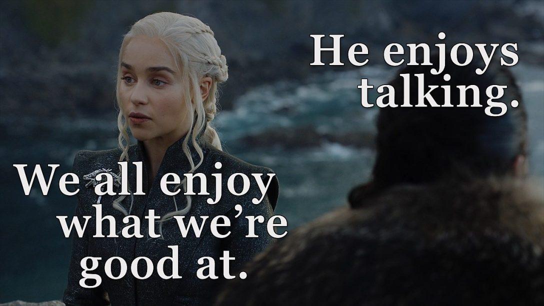 Nie zapomnijmy też, że Jon jest też dobry w nic nie wiedzeniu.