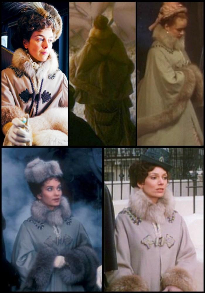 """Na górze po lewej Olivię Williams w """"Annie Kareninie"""" z zeszłego roku, płaszcz który nosi ma już prawie 40-letnią historię. W lewym dolnym rogu kadr z 1977 roku również pochodzi z adaptacji """"Anny Kareniny"""" (na zdjęciu Nicola Paget), który później na ekran wskakiwał też w latach 1990 (prawy-górny róg), 1994 (prawy-dolny) oraz 2006 (środek w górnym rzędzie)."""