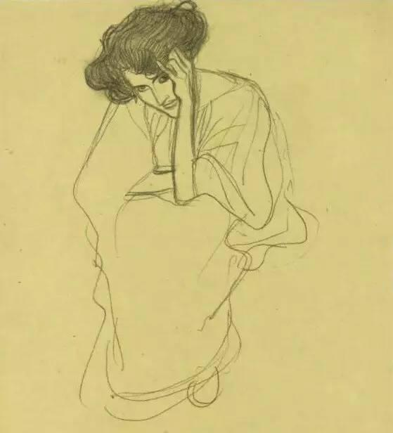 seated-woman-resting-gustav-klimt
