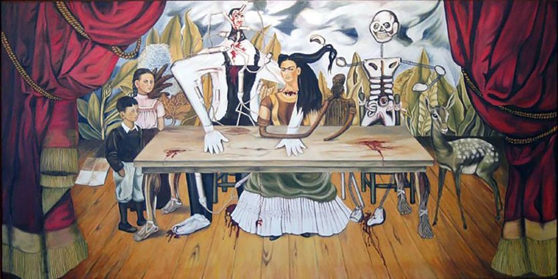 Zdjęcie oryginału obrazu Fridy Cahlo, który ostatni raz widziano na wystawie w 1955 roku w Warszawie. Dzieło zaginęło w transporcie do innego muzeum.