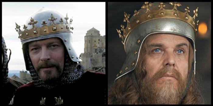 """Ryszard Lwie Serce z """"Królestwa Niebieskiego"""" (2005 - po lewej) i... Ryszard Lwie Serce z """"Robin Hooda"""" (2010 - prawa strona) używali tej samej korony."""