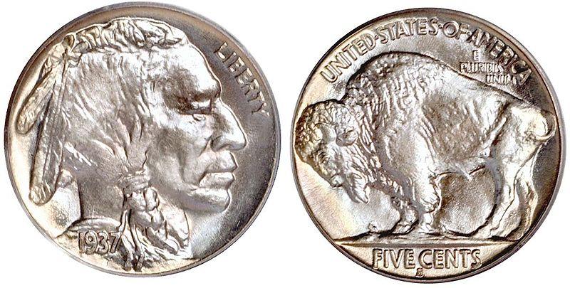 Awers i rewers pięciocentówki (Buffalo Nickel) z 1937 roku