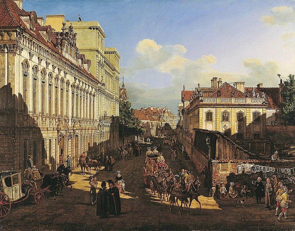 Ulica Miodowa, obraz Canaletta. Znajdź małpę, a dostaniesz banana.