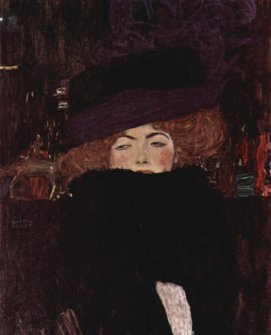 lady-with-hat-and-feather-boa-gustav-klimt