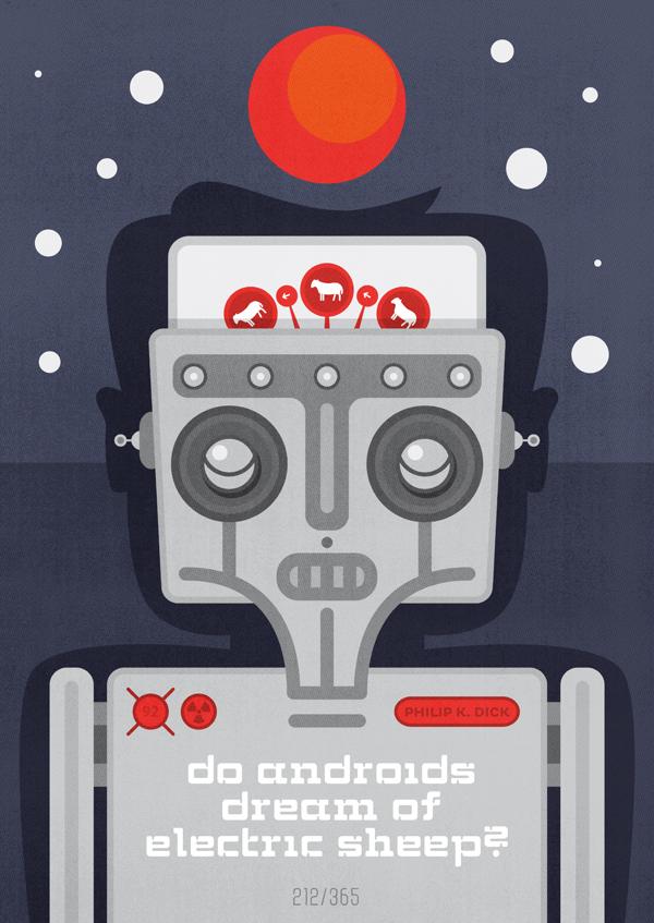 Przywodząca na myśl stare dobre polskie plakaty okładka Czy androidy śnią o elektrycznych owcach?