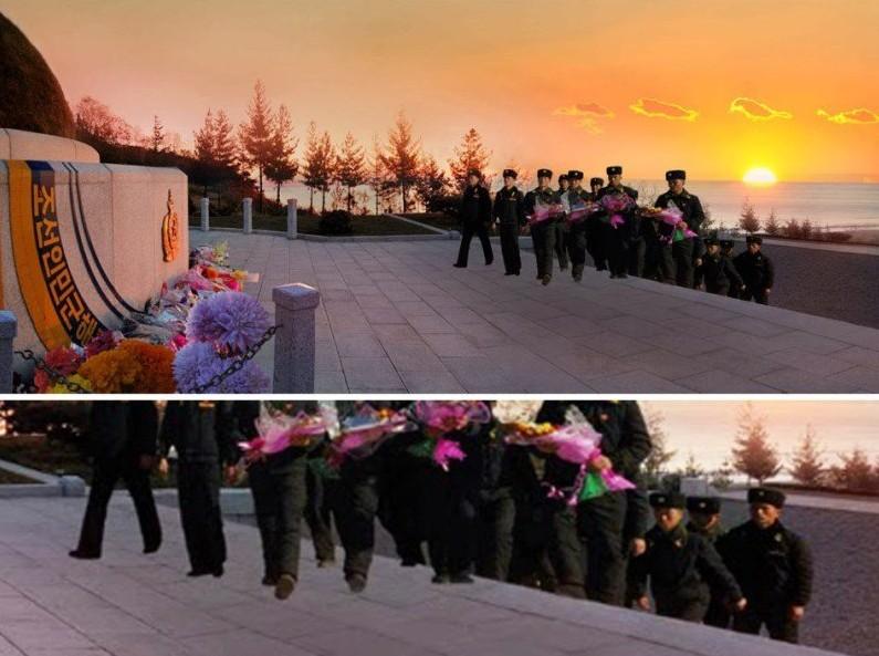 Składający wieńce żołnierze w ogóle nie rzucają cienia. Fotografia pokazała się w koreańskim magazynie dla ludzi pracy 18 listopada 2013 roku