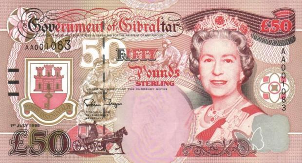 50 funtów gibraltarskich. Wiek: 66 lat