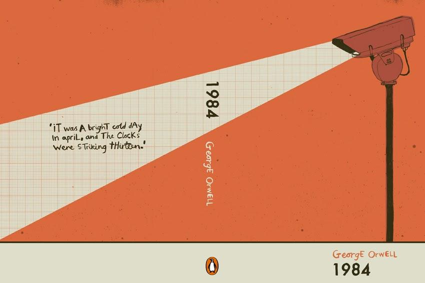 1984 w innej wariacji - też wydawnictwa Penguin, lecz tym razem z pierwszym zdaniem powieści z tyłu okładki