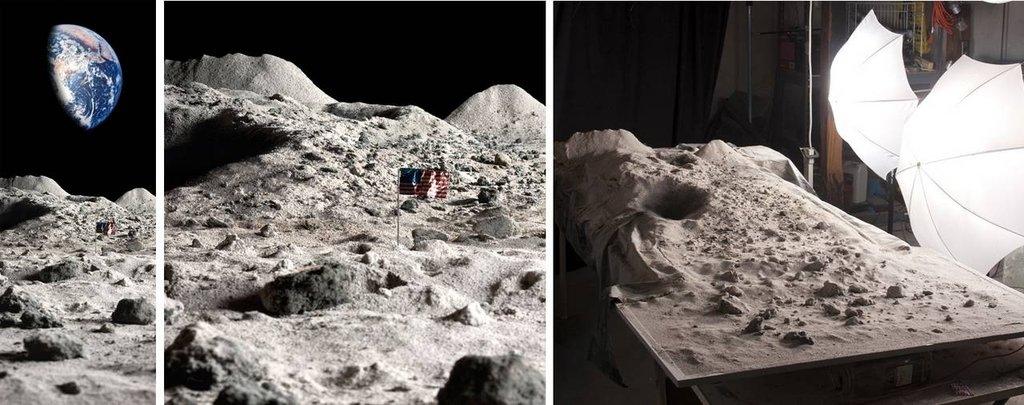 Księżycowy pył z popiołu kominkowego. Reszta podłoża z zaprawy murarskiej, papieru i drutu. Ziemia to wideo z rzutnika.