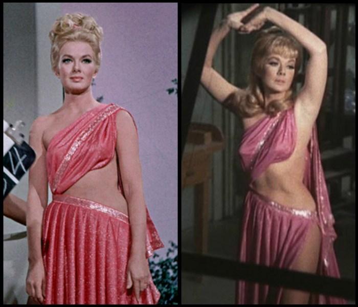 """Czasem się zdarza, że tą samą kreację włoży ta sama osoba, ale w kompletnie różnej produkcji.  Przykładem niech będzie Leslie Parrish, która odsłaniającą kieckę włożyła w jednym z odcinków """"Star Treka"""" w 1967, by przypomnieć sobie o niej rok później w innym serialu - rozgrywającym się na Ziemi """"Manniksie""""."""