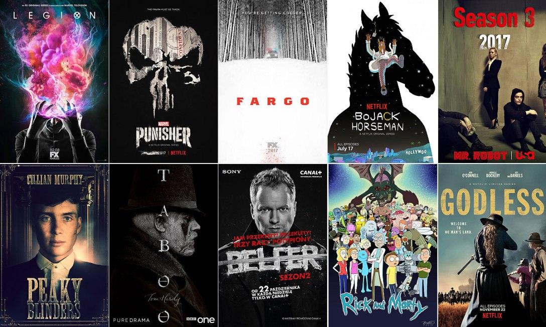 Miejsca 20-16, kolejno od lewej: Legion, Punisher, Fargo, BoJack Horseman, Mr. Robot.<br>Miejsca 15-11: Peaky Blinders, Taboo, Belfer, Rick & Morty, Godless.
