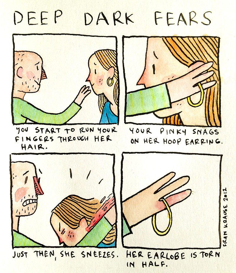 Zaczynasz gładzić ją po włosach. Twój palec przypadkiem zaczepia się o kolczyk. I właśnie wtedy, ona kicha, rozdzierając swoją małżowinę.