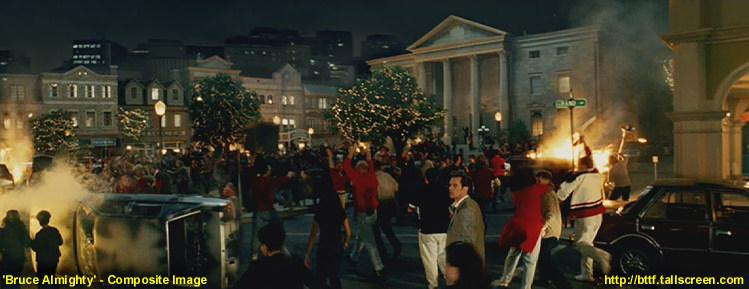 Zamieszki w mieście Bruce'a Wszechmogącego musiały się odbyć na głównym placu miasta