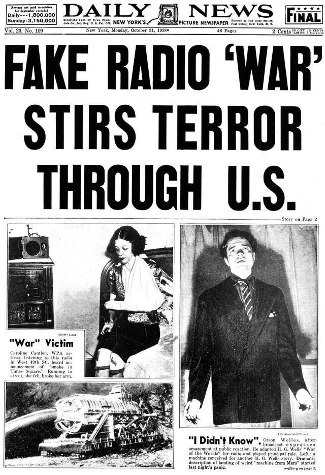 Okładka Daily News z 31 października 1938 roku, donosząca o panice wywołanej fałszywą radiową wojną
