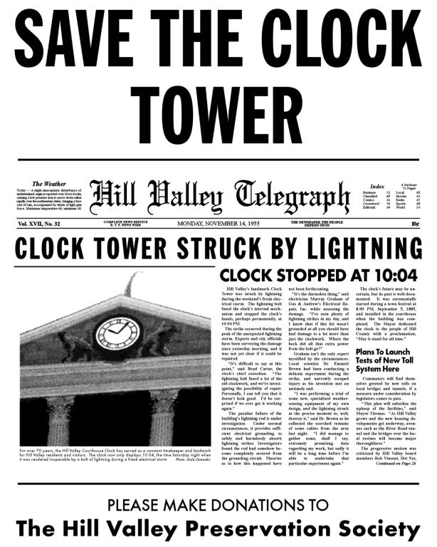 Rozdawana na początku filmu broszura, na którą okiem pobieżnie rzuca Marty McFly w 1985 roku (po kliknięciu otwiera się w powiększeniu - można przeczytać cały artykuł)