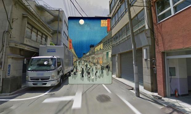 Ulica Saruwaka, Tokio, 1856, Utagawa Hiroshige