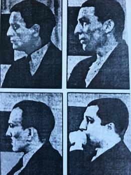 """Czterech z pięciu członków """"Morderczego Trustu"""" na ławie oskarżonych."""