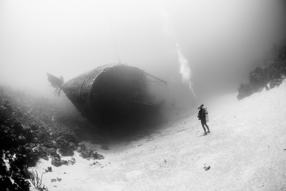 Wrak statku Hilma Hooker na Morzu Karaibskim. (fot Marc Henauer)