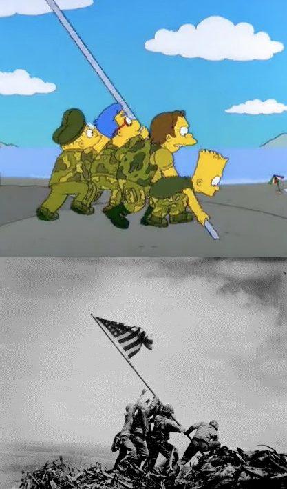 Wzniesienie amerykańskiej flagi na wyspie Iwo Jima