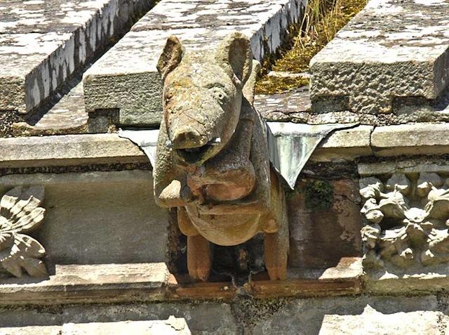 Świnia grająca na dudach - opactwo Melrose, Szkocja